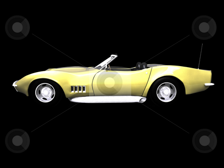 3D golden sports car side stock photo, 3d golden sports car side view on black by John Teeter