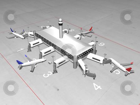 3D Airport render stock photo, 3D airport top view by John Teeter