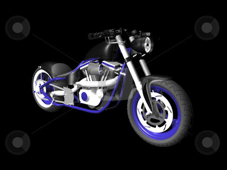 3D Motorcylce on black 4 stock photo, 3D Motorcycle on black background 4 by John Teeter
