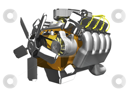 3d engine  side view white stock photo, 3d engine side view on white background by John Teeter