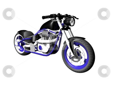 3D Motorcycle on white 4 stock photo, 3D Motorcycle on white background 4 by John Teeter