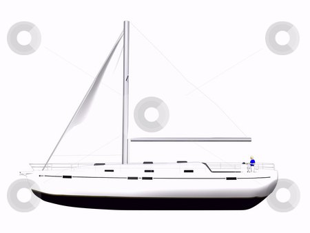 3D Sailboat side view stock photo, 3D Sailboat side view on isolated white background by John Teeter