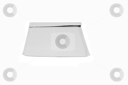 White bubble mailer stock photo, White bubble mailer on isolated background by John Teeter