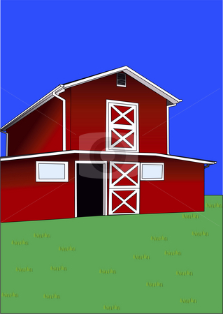 Drawing of red barn stock photo, Illustration of red barn with grass and sky by John Teeter