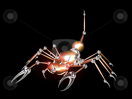 3D Robotic scorpion orange stock photo, 3D Robotic scorpion orange on black background by John Teeter