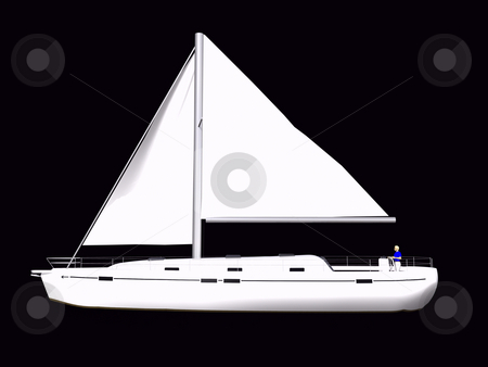 3D Sailboat side view stock photo, 3D Sailboat side view on isolated black background by John Teeter
