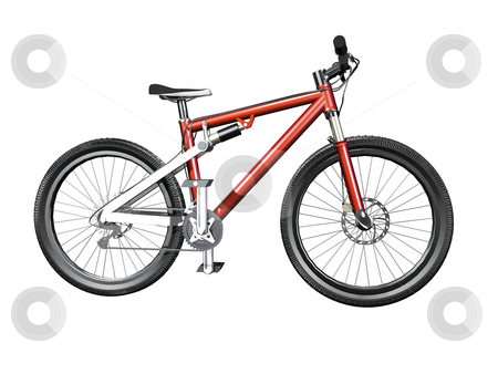 3D Isolated mountain bike stock photo, 3D Isolated mountain bike side view isolated on white by John Teeter
