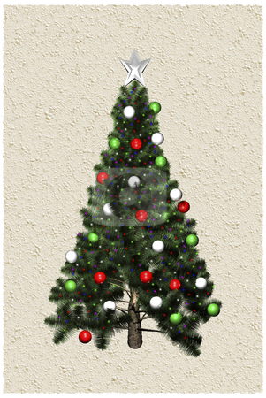 3D Christmas tree  stock photo, 3D Christmas tree on parchment background by John Teeter