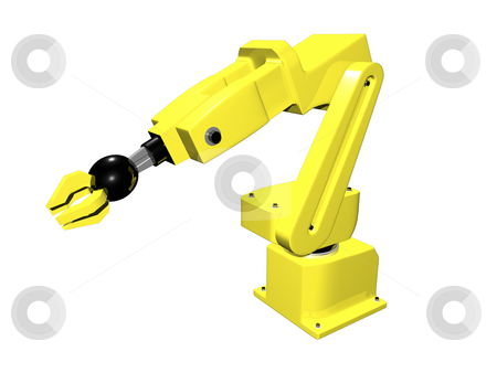 3D Yellow automated arm  stock photo, 3D yellow automated arm on white isolated background by John Teeter