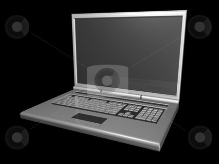 3D laptop black background stock photo, 3D Laptop on black background by John Teeter
