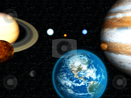 3D solar system stock photo, 3D solar system by John Teeter