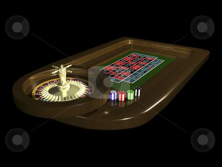 3D Roulette table stock photo, 3D Roulette table on black background by John Teeter