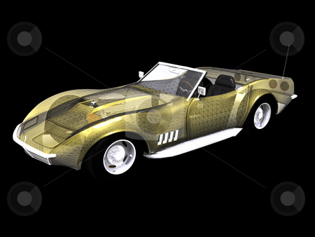 3D Sports car with wire frame stock photo, 3D Sports car with wire frame on black by John Teeter