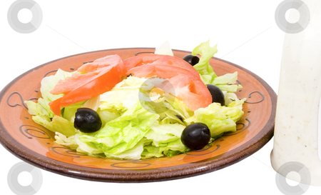 Isolated dinner salad with dressing stock photo, Isolated dinner salad with dressing by John Teeter