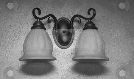 Tow light fixture stock photo, Two light fixture on wall sconce by John Teeter