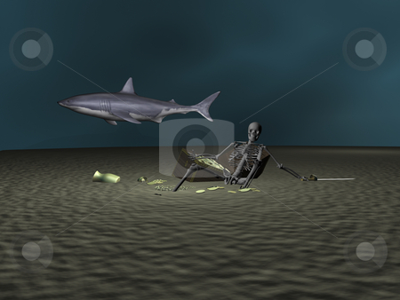 3D Dead mans chest stock photo, 3D Skeleton at bottom of sea guarding treasure by John Teeter