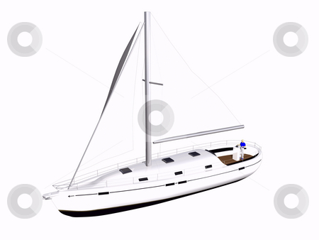 3D Sailboat front side view stock photo, 3D Sailboat front side view on isolated white background by John Teeter