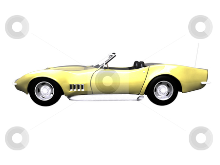 3D Gold sports car on white  stock photo, 3d golden sports car side view on white background by John Teeter