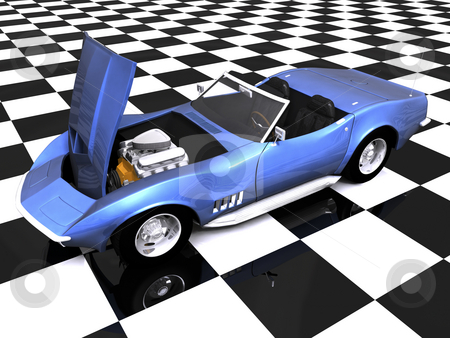 3D Sports car hood up stock photo, 3D Sports car with hood up on showroom by John Teeter
