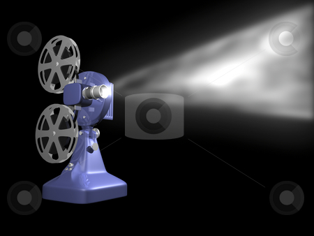 Blue film projector playing stock photo, Blue film projector playing on black background 3D Render by John Teeter