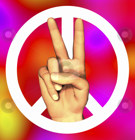 3D hand with peace sign stock photo, 3D hand with peace sign tye-dye by John Teeter