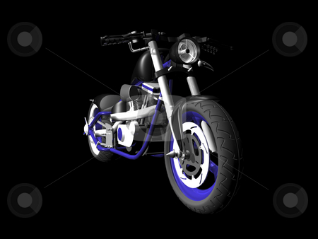 3D Motorcycle on black 1 stock photo, 3d motorcycle on black background 1 by John Teeter