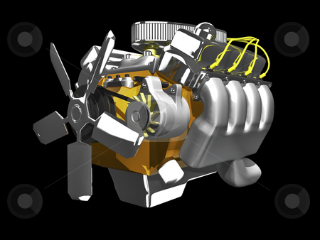3d engine side view stock photo, 3d engine side view on black background by John Teeter