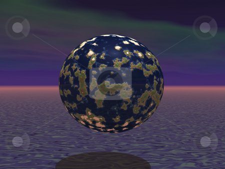 World in World stock photo, 3D world floating in atmosphere by John Teeter
