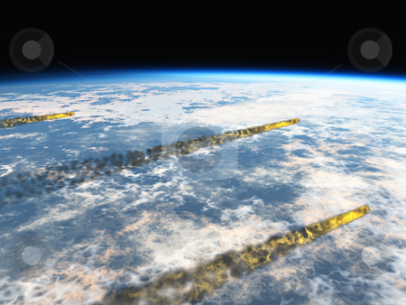 Asteroids over earth stock photo, Asteroids over earth by John Teeter