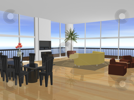 3D Apartment interior stock photo, 3D Apartment interior furnished with ocean view by John Teeter