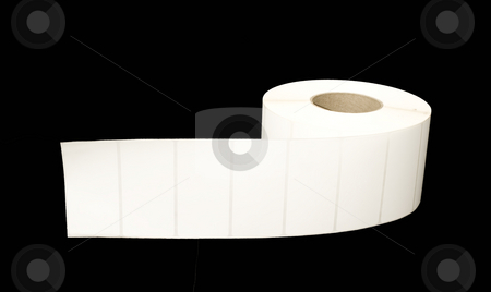 Roll of white labels on black stock photo, Roll of white labels on black background by John Teeter