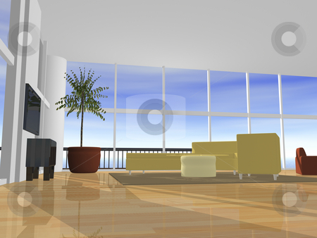 3D Interior setting with sky stock photo, 3D interior setting with sky view by John Teeter