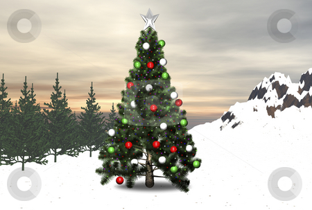 Christmas tree in forest stock photo, Christmas tree in the forest decorated by John Teeter