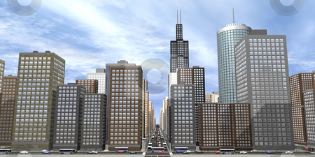 3D city stock photo, 3D view of city with skyscrapers by John Teeter