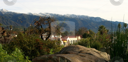 Ojai With Snow stock photo, Landscape shot of the Ojai valley with snow on the mountains. by Henrik Lehnerer