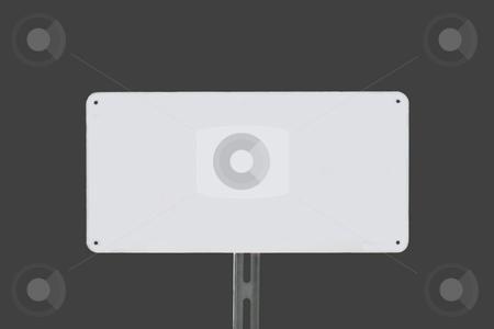 White Sign Grey stock photo, White sign on a grey background without writing by Henrik Lehnerer