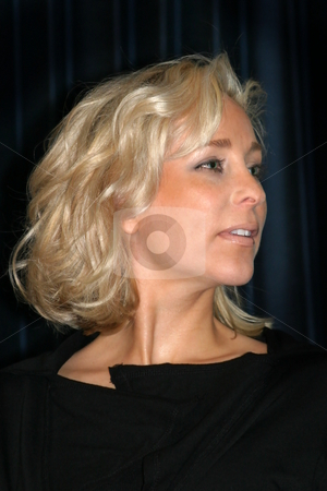 Blonde Woman closeup stock photo, Portrait of a beautiful young woman with blond hair by Henrik Lehnerer