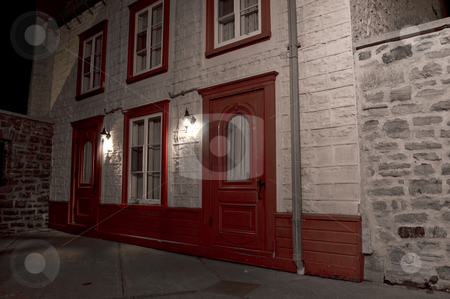 Old house stock photo, Old house at night in Old Quebec City by Jean Larue-Frechette