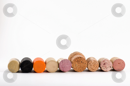 Cork row 1 stock photo, Many different wine cork on a row by Jean Larue-Frechette