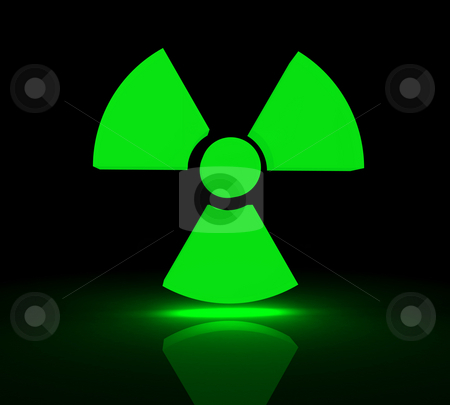 Radioactive symbol stock photo, Glowing symbol for radioactive substances. 3d render. by Jean Larue-Frechette