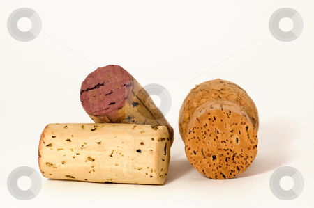 Three cork macro stock photo, Macro of three different wine cork, isolated on white by Jean Larue-Frechette