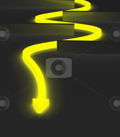 Yellow arrow stock photo, Glowing yellow arrow twisting to avoid obstacles by Jean Larue-Frechette