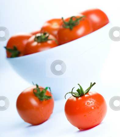 Cherry tomato stock photo, Delicious fresh cherry tomatoes by Tommy Maenhout