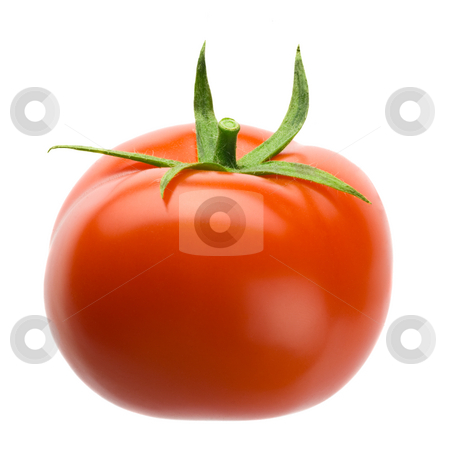Tomato stock photo, Delicous plump red tomato isolated over white background by Tommy Maenhout