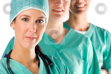 Nurses stock photo, Portrait of three young and beautiful nurses by Tommy Maenhout
