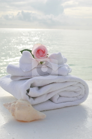 Spa stock photo, A tranquil spa setting with ocean in background and a beautiful pink rose. by Crystal Kirk