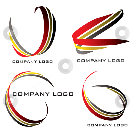 Ribbon red n gold stock photo, Set of four company logos in red gold and black by Michael Travers