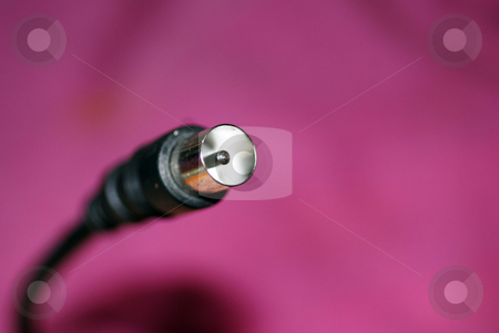 Aerial Lead stock photo, A close up photograph of the plug of an antenna cable. by Philippa Willitts