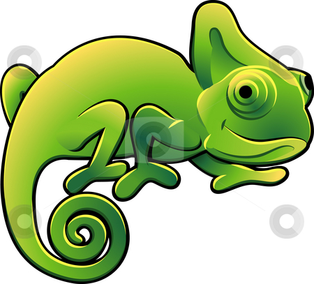 Cute Chameleon Vector Illustration stock photo, A vector illustration of a cute chameleon lizard by Christos Georghiou