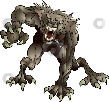 Snarling Scary Werewolf stock photo, A mean snarling scary werewolf attacking the viewer by Christos Georghiou